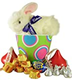 7 Clucking Cadbury Bunny Easter Basket Bucket w Hershey Kisses and Reeses Peanut Butter Cups
