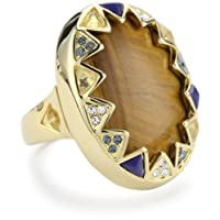 House of Harlow 1960 14kt Yellow-Gold-Plated Tiger Eye Ring, Size 7