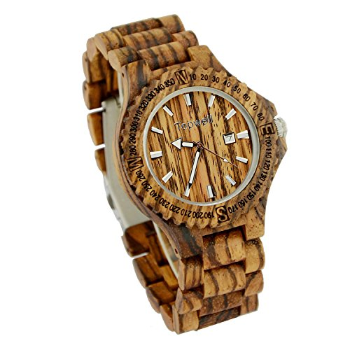 Topwell Wooden WristWatches Date Wood Watch Adjustable Wood Band Wristwatch Zebra Wood Watches (Items Sold By Amazon compare prices)