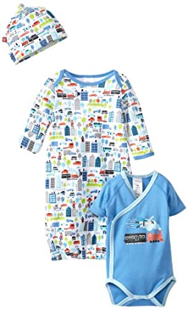 Zutano Baby-Boys Super Hero Gown, Short Sleeve Wrap And Hat Set, Multi, 9 Months