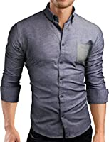 Grin&Bear Slim Fit Hemd Herrenhemd Leicht-denim bügelarm, SH00560