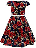 Bonny Billy Girls Classy Vintage Floral Swing Kids Party Dress with Belt 10-11 Years C-Flower