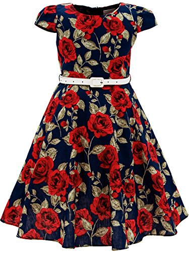 Bonny Billy Girls Classy Vintage Floral Swing Kids Party Dress with Belt 5-6 Years C-Flower