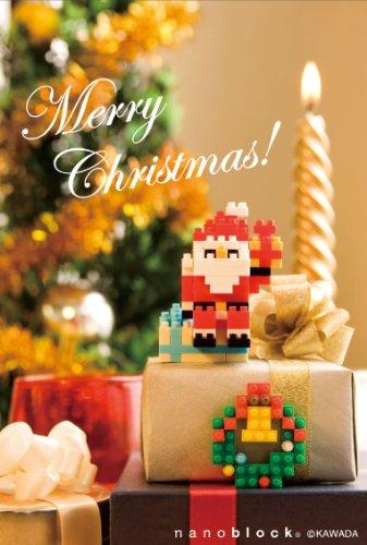 nanoblockクリスマスカード (サンタとリース) タテ