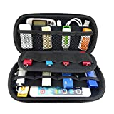 Happy Hours - Travel Organizer Portable EVA Case Bag / Hard Protective Carrying Pouch Sleeve for U Disk, SD Card, USB Flash Drives, Memory Cards, Cables, Smartphone with Mesh Accessories Pocket(Blue)