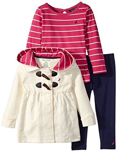 Nautica Baby Girls' Quilted French Terry Jacket with Yarn Dye Top Legging, Cream, 12 Months