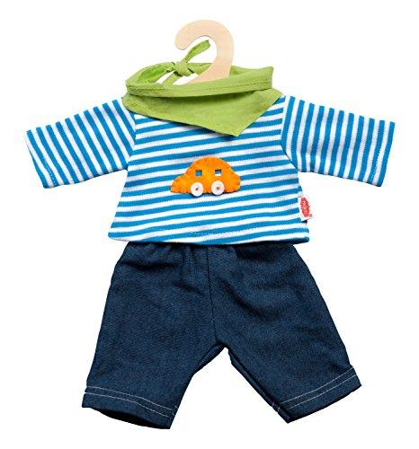Heless 2315 - Jeans mit Streifenshirt und pfiffigem Nickituch, Größe: 35-45cm, 3-teilig