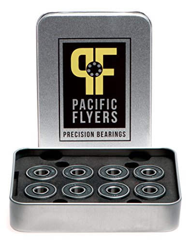 Pacific Flyers Premium Ceramic Si3N4 Silicon Nitride Skateboard Bearings / Set of 8 (Bearings Bones Ceramic compare prices)