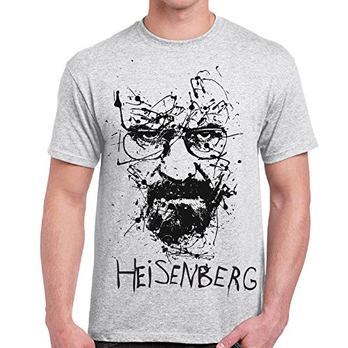 CHEMAGLIETTE! - Maglietta Breaking Bad Heisenberg Walter White Sketch T-Shirt Cotone Uomo, Colore: Cenere, Taglia: M