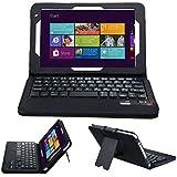 IVSO Toshiba Encore 2 WT8-B32CN / B64CN 8.0-inch Ultra-Thin High Quality Bluetooth Keyboard Portfolio Case - DETACHABLE Bluetooth Keyboard Stand Case / Cover for Toshiba Encore 2 WT8-B32CN / B64CN Tablet (Black)