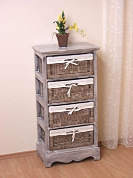Kommode Regal Massivholz used look Antik 4 Schube / Körbe