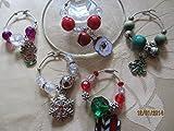 50% Off Set of 5 Christmas Wine Glass Charms, Holiday Wine Glass Charms