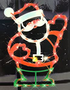 "17"" Lighted Waving Santa Claus Christmas Window Silhouette Decoration"