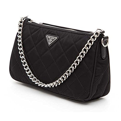 833d26904a2b Prada Tessuto Impuntu Quilted Nylon Chain Handle Shoulder Bag BT1026, Black  / Nero