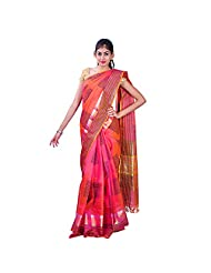 Urvashi Orange & Black Cotton Silk Saree (Urvasi 061)