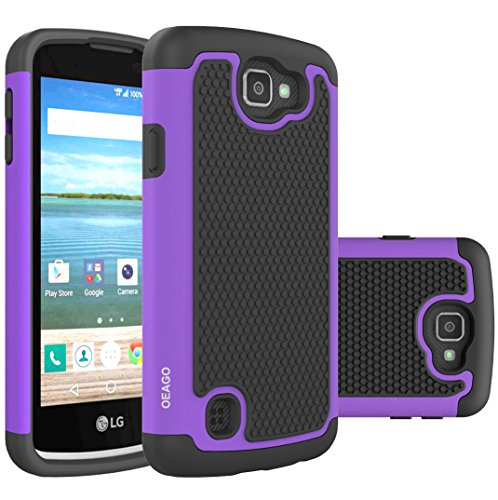 OEAGO LG K4 LTE Case, LG Spree Case, LG Rebel LTE Case Cover Accessories - Shock-Absorption Dual Layer Defender Protective Case Cover For LG K4 LTE/LG Spree / LG Rebel LTE / LG Optimus Zone 3 - Purple (Lg Tracfone Cases compare prices)