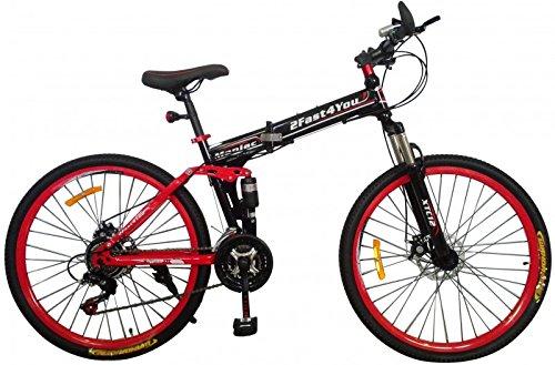 26' Zoll Fully Klapprad Mountainbike MTB Klappfahrrad Faltrad vollgefedert, Farben:schwarz-rot
