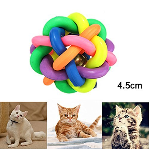 Pets Empire 4.5CM Size Pet Dogs Puppy Cat Rainbow Color Rubber Bell Ball Toy Sound Round Ball(Pack Of 2)