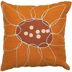 "18"" Burnt Orange Eclectic Floral Decorative Throw Pillow"