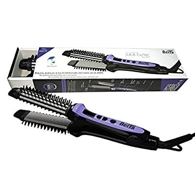 Berta Hair Straightener Brush & Hair Curler 2 in 1 Ceramic Hair Iron 1.25in. Professional Hair Flat Iron Dual Voltage Us Plug