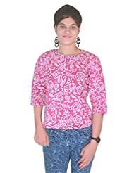 Selfi Printed Pink Solid Top