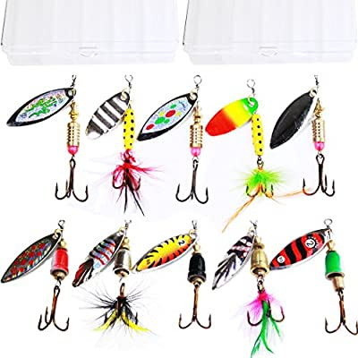 Tbuymax 10pcs fishing lure spinners Bass trout hard Crankbaitkit with 2 Tackle boxes by Tbuymax