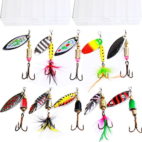 Tbuymax 10pcs fishing lure spinners Bass trout hard Crankbait kit with 2 Tackle boxes