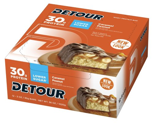 Detour Deluxe Whey Protein Energy Bar, Low Sugar, Caramel Peanut, 3 Ounce, 12-Count