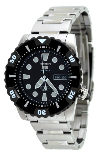 Seiko Men's SNZJ19 Seiko 5 Black Rubber Strap Black Dial Watch