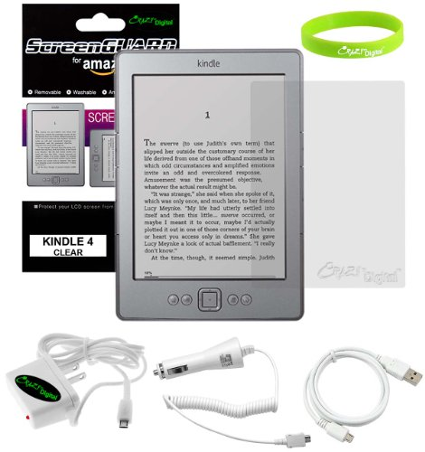 CrazyOnDigital Amazon All New Kindle 4 Button 6' eBook Reader Accessories Auto Car + Home Wall Charger with sync and charge Data Cable and Screen Prot