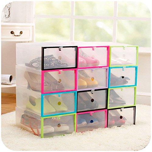 Multifunction Plastic Transparent Shoe Storage Box DIY Organizer Stackable Drawer Case