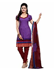 Vineberi Beautiful And Trendy Unstitched Printed Crepe Purple Salwar Suit Dress Material With Dupatta