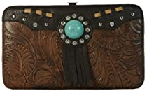 Texcyngoods Western Style Flat Wallet Tooled Faux Leather Clutch Brown