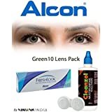 Alcon Freshlook One-Day Green Color Zeropower Contact Lenses With Free Cleanzol Lens Care Kit (10 Lens Pack) By...