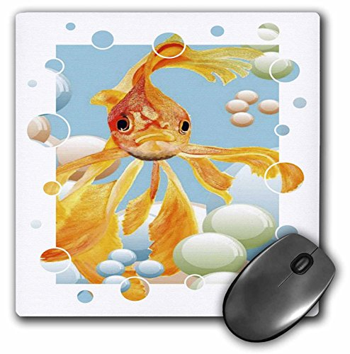 3dRose LLC 8 x 8 x 0.25 Inches Mouse Pad, Blowing Bubbles - Goldfish, Fantail, Goldfish, Fantail Goldfish, Ryukin, Fancy Goldfish, Fantailed (mp_46909_1)