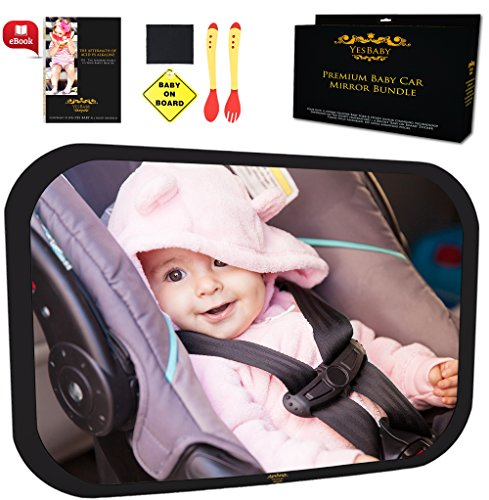 Baby Car Mirror Bundle - Fully Assembled & Adjustable - Premium Back Seat Baby Mirror for Car (Car Mirror Baby Light compare prices)