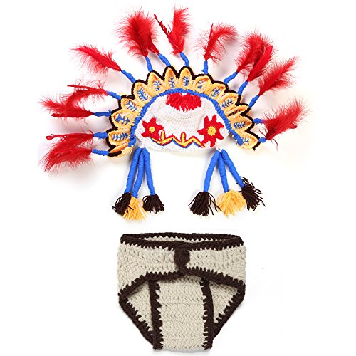 Elee Baby Indians Feather Costume Set Knitted Crochet Photo Photography Prop