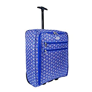 More4bagz Super Lightweight Cabin Approved Hand Luggage Travel Holdall Wheeled Suitcase Backpack Rucksack Bag fits Easyjet, Ryanair, BMI, Flybe & Many More - 1.4kg - 40 Litres (1 Peice, Blue Hexagon)