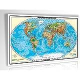 XXL/1,53 Meter - Original handgezeichnete Relief Weltkarte - antireflex-entspiegelt laminiert (riesen große Poster Wandkarte, Weltkarte, Großformat)