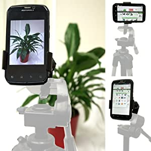 ChargerCity Apple iPhone 6s Plus 6 SE LG G5 G4 Samsung Galaxy S7 S6 Edge Note Nexus Droid LG G4 G5 V10 360º Multi Adjust Video Camera Record Holder Tripod Adapter Mount *Tripod is not included*