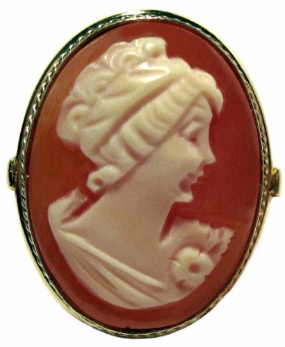 Cameo Ring Italian Master Carved Sterling Silver 18k Gold Overlay Size 6.5