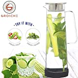GROSCHE BALI Hand-Made Glass Water Infuser & Water Pitcher with Stainless Steel Filter Lid, 1500 ml