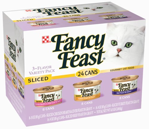 Fancy Feast Gourmet Cat Food, 3-Flavor Sliced Variety Pack (Chicken, Turkey & Beef), 24 3-Ounce Cans