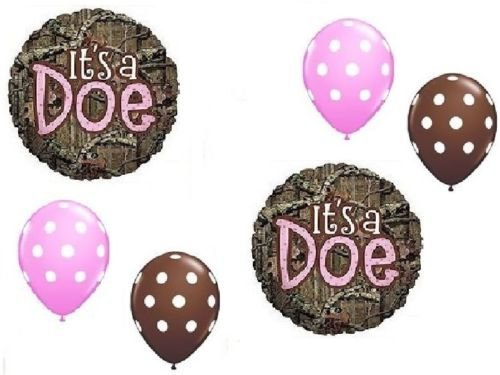 LoonBalloon MOSSY OAK It's a Doe Pink Girl Baby Shower Camouflage 6 Mylar & Latex Balloons (Pink Camo Baby Shower compare prices)