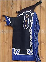 Hilason Bull Riding Soft Smooth Leather Rodeo Western Chaps Black by HILASON