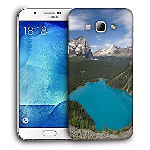 Snoogg Blue Water Between Mountain Printed Protective Phone Back Case Cover For Samsung Galaxy A8