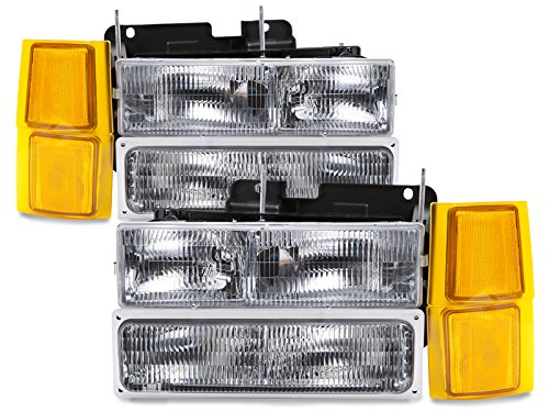NEW CHEVY OEM STYLE HEADLAMPS HEADLIGHTS-8PC SET SILVERADO-SUBURBAN-BLAZER (1997 Chevy Silverado 1500 Led compare prices)