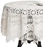 SARO LIFESTYLE 869 Crochet Tablecloths, 54-Inch, Round, White