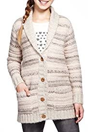 Shawl Collar Textured Striped Cardigan [T74-2693S-S]
