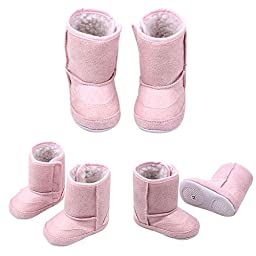 Baby Toddler 6-18 Month Prewalker Shoes Cute Warm Winter Snow Boots (X-Large(9-12 Month), Pink)
